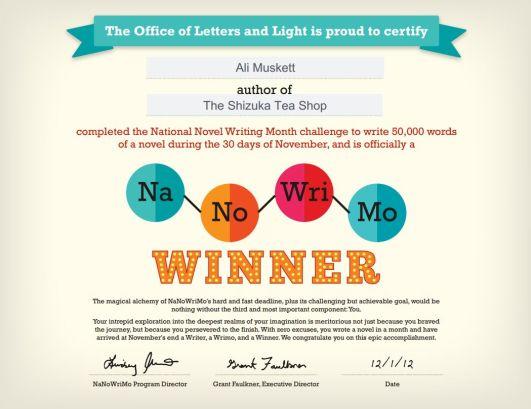 NaNoWriMo 2012 certificate