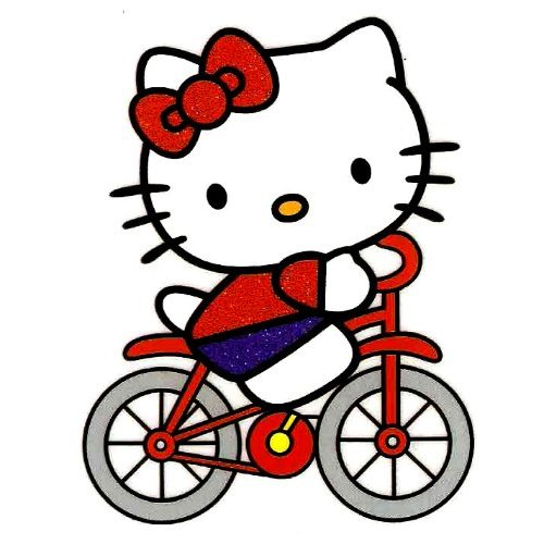 Hello Kitty riding a bicycle