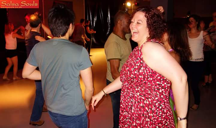 Salsa party - it's not a flattering photo, but look how happy I am!